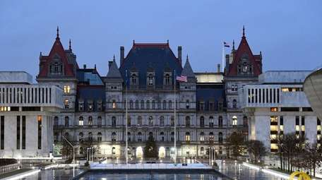 The Capitol in Albany before sunrise on the