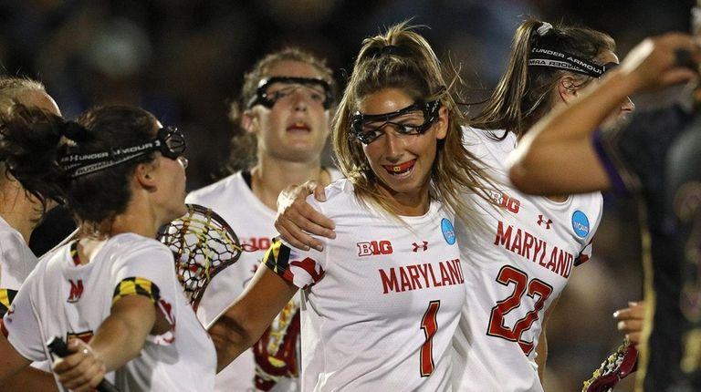Maryland's Brindi Griffin celebrates her goal against Northwestern