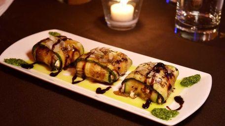 Zucchini squares -- grilled zucchini wrapped around seasoned
