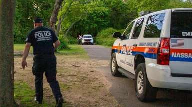 Nassau County police investigate at the Massapequa Preserve
