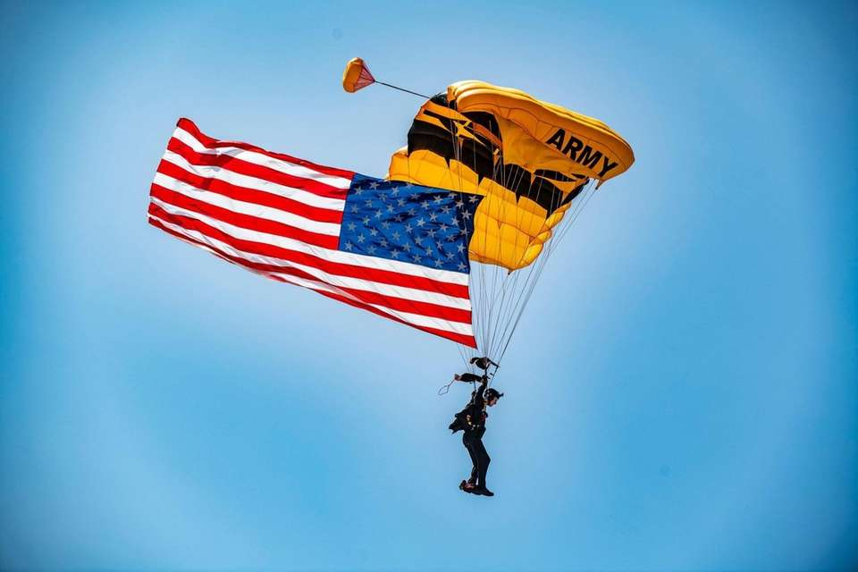 The US Army Golden Knight landing with the