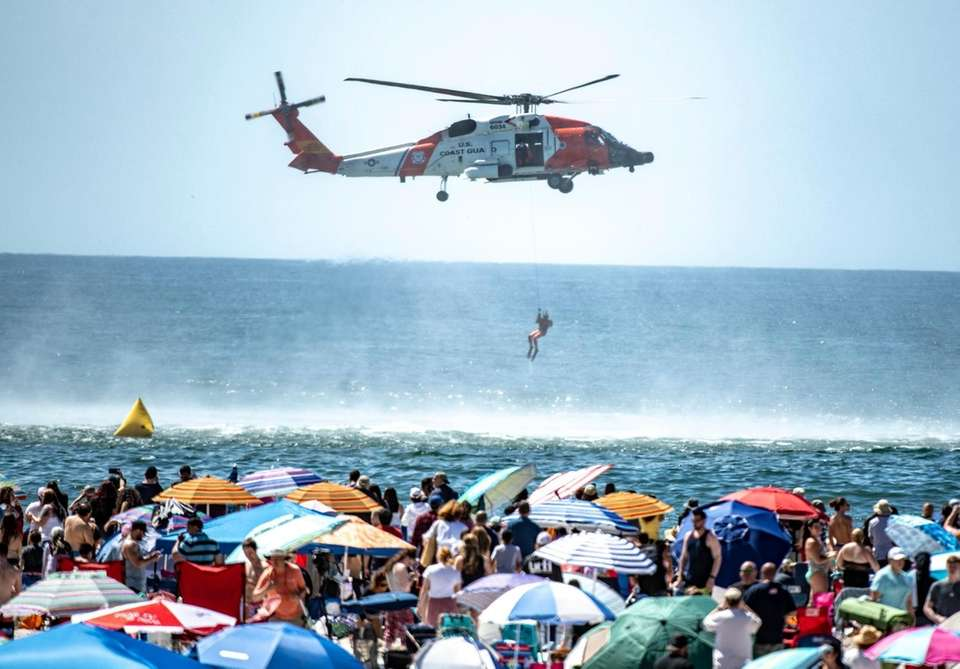 US Coat Guard demonstrating a rescue during the