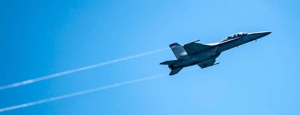 .F18 tumbling in the sky during the 16th