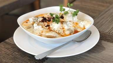 Manti, tiny meat-filled dumplings, are one of the