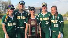 (L-R) LIU Post softball OF Allie Laird, OF