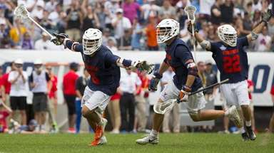 Ian Laviano #3 of Virginia celebrates his game