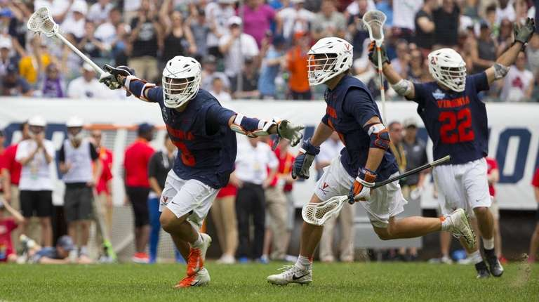 Ian Laviano #3 of Virginia celebrates his game