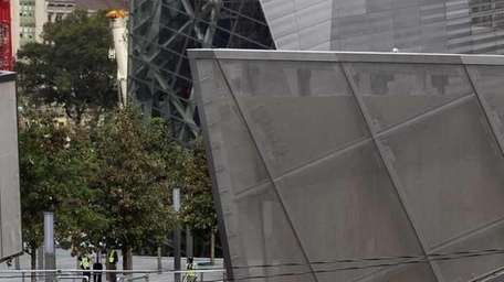 NYPD officers are posted at the World Trade