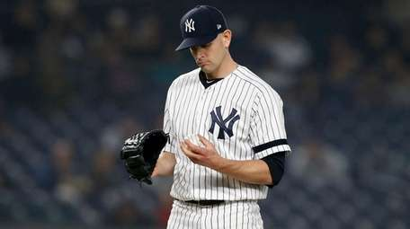 James Paxton of the Yankees looks at the