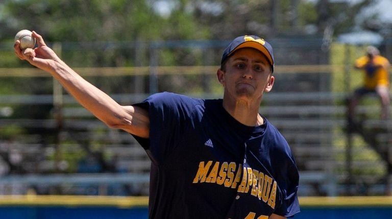 Massapequa's Derek Haag pitches in a Nassau baseball