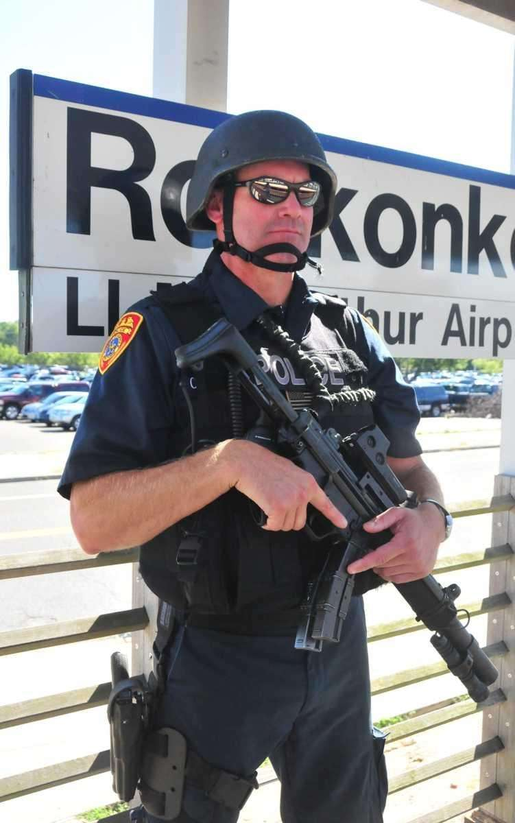 Heavily-armed Suffolk County emergency service police officers at