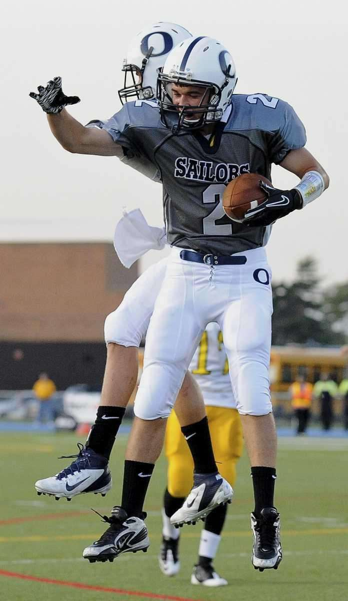 Oceanside's Eddie Lally celebrate his touchdown against Uniondale