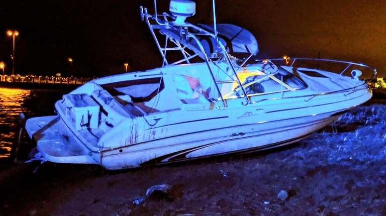 The beached boat in Bay Shore on Saturday