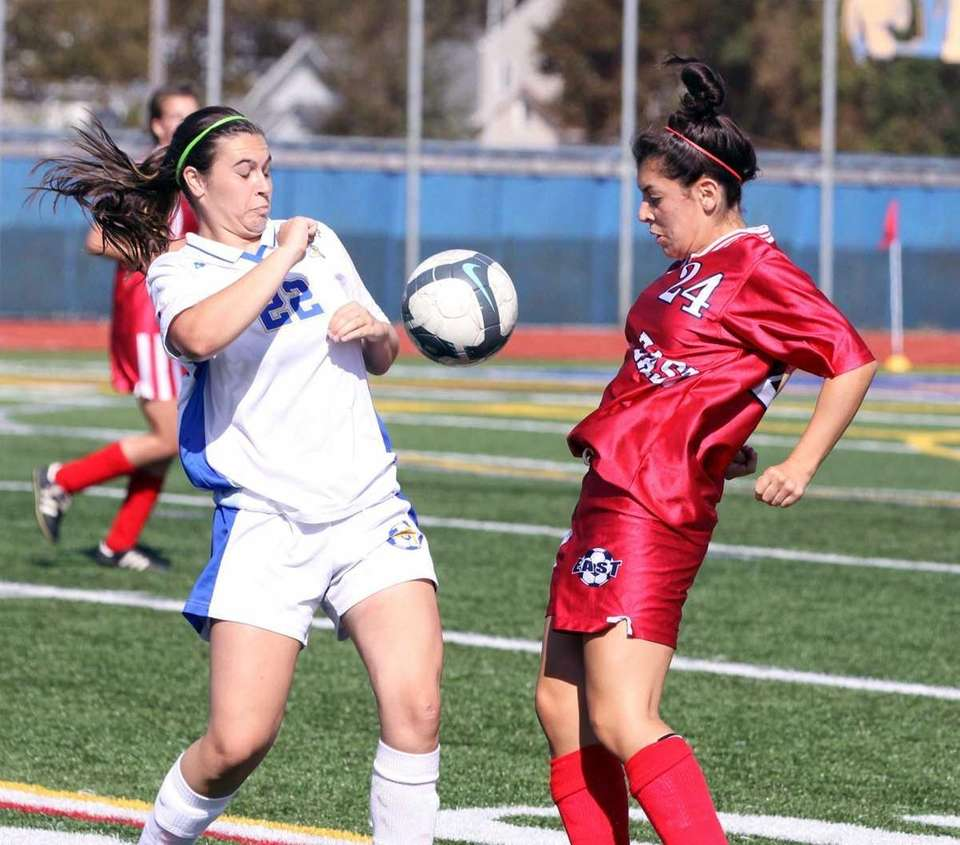 West Islip's Jaclyn Kirshbaum works ball against Smithtown