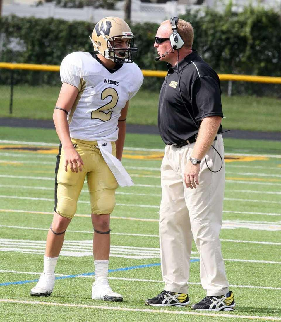 Wantagh Head Coach Tom Casey speaks to Nick