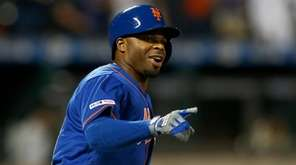 Rajai Davis #18 of the Mets reacts after