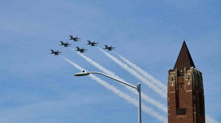 The U.S. Air Force Thunderbirds roar over the