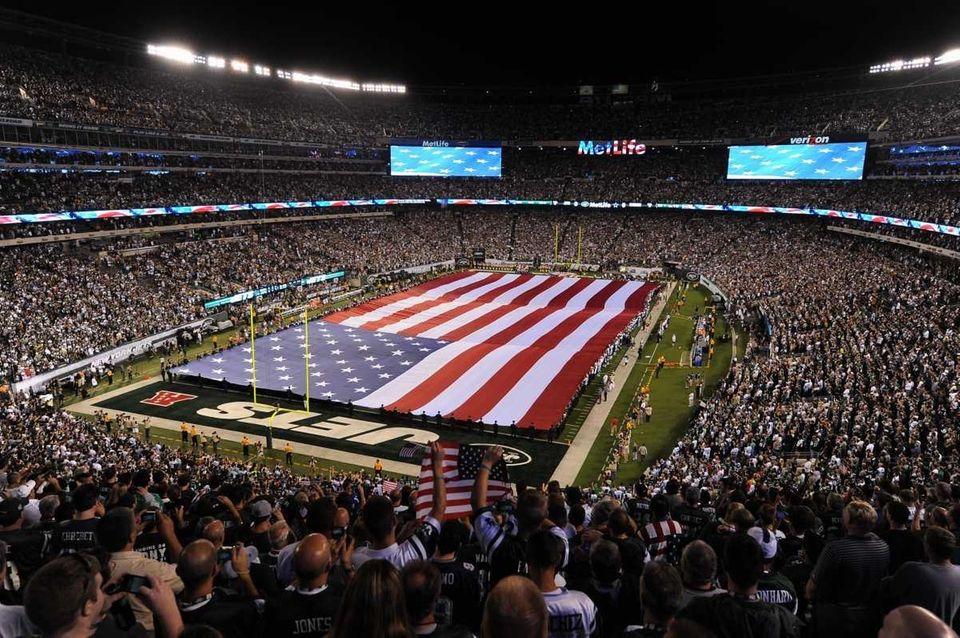 Memorial flag for September 11 prior to the