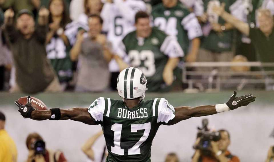 New York Jets wide receiver Plaxico Burress celebrates