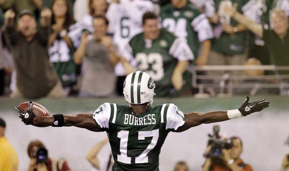New York Jets wide receiver Plaxico Burress celebrates
