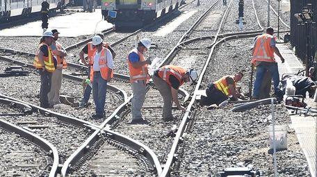 LIRR crews on Sunday work to restore service