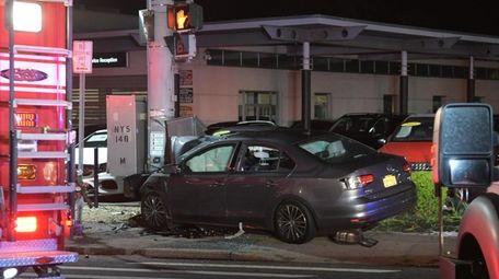 The crash scene on Sunrise Highway in Amityville