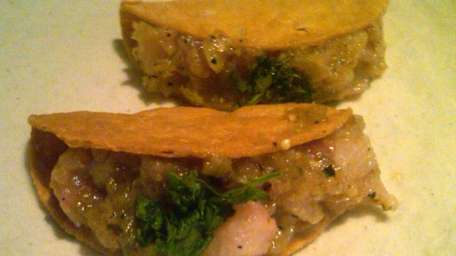 Fish tacos with seviche at Arata Sushi in