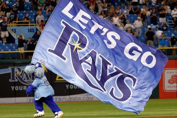 Mascot Raymond of the Tampa Bay Rays gets