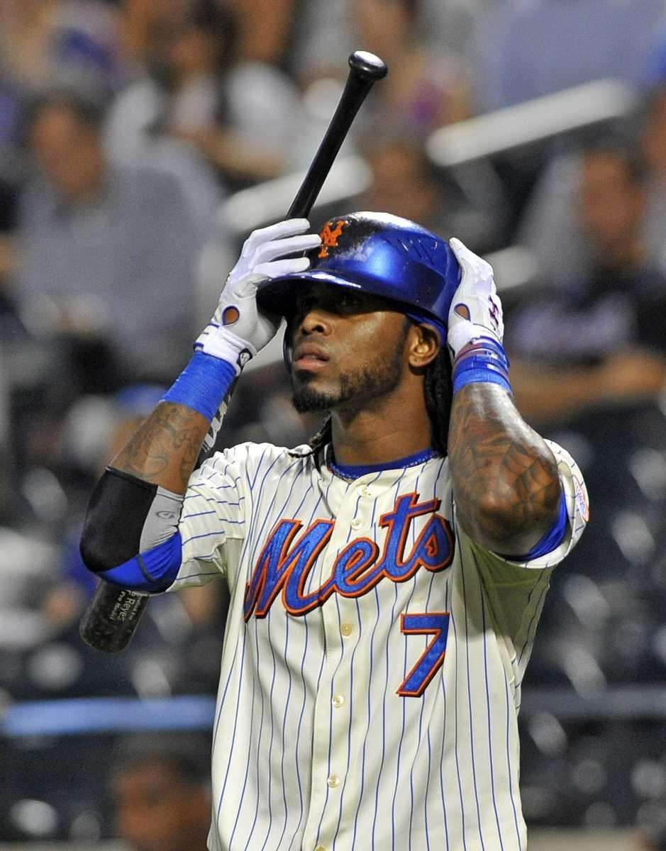Jose Reyes adjusting his batting helmet. (Sept. 13,