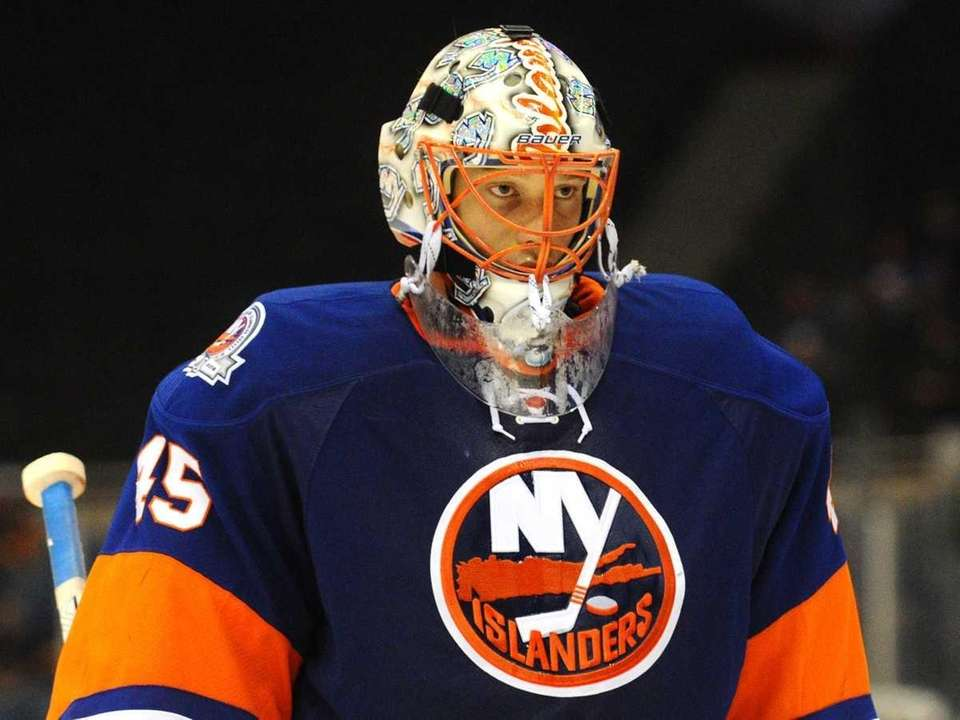 New York Islanders goalkeeper #45 Anders Nilsson skates