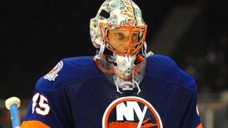 New York Islanders goalkeeper #45 Anders Nilsson skates