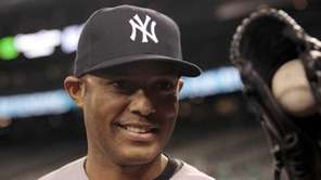 New York Yankees closer Mariano Rivera clutches a
