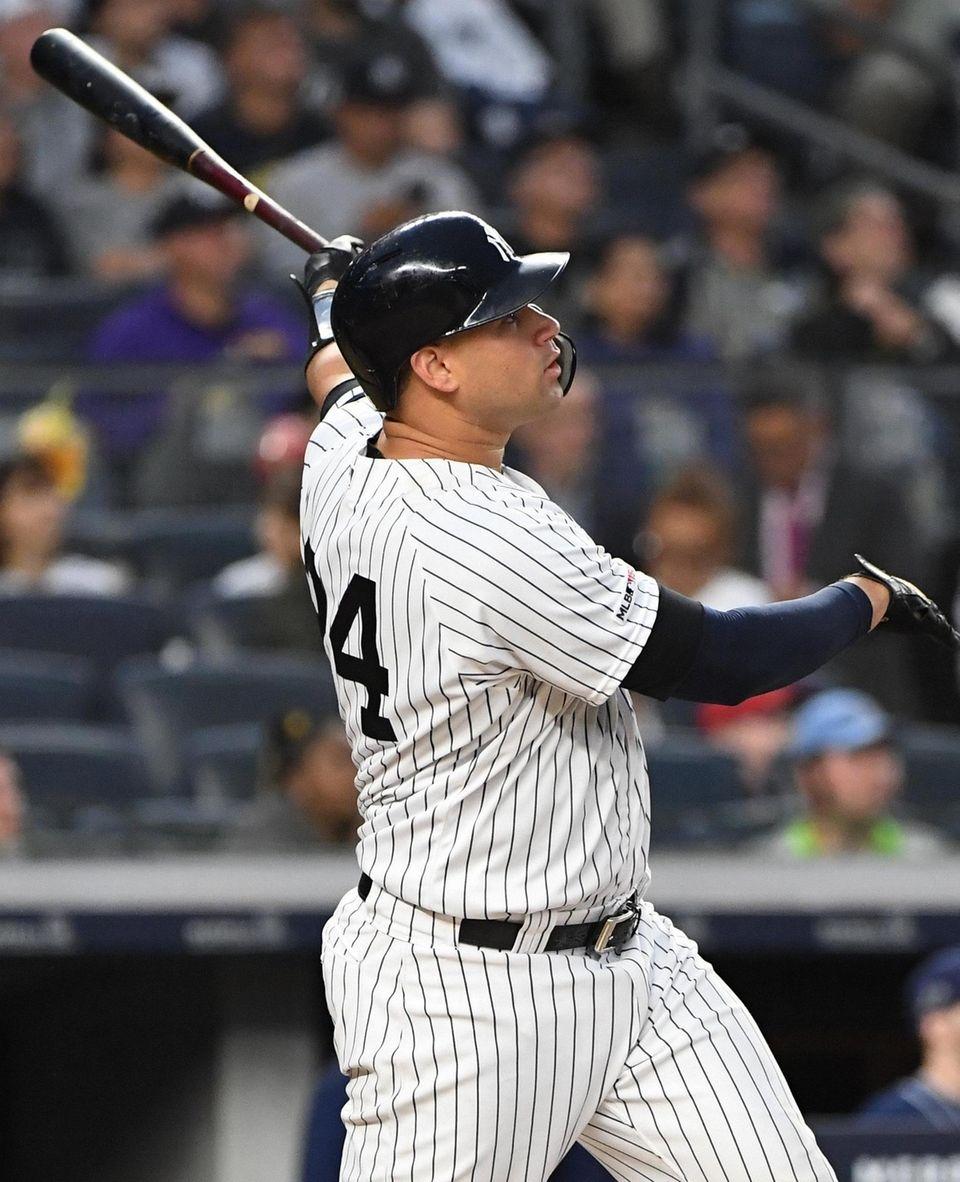 New York Yankees catcher Gary Sanchez hits a