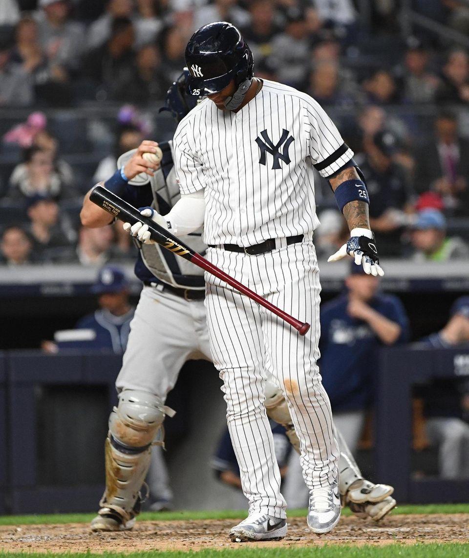 New York Yankees shortstop Gleyber Torres reacts after