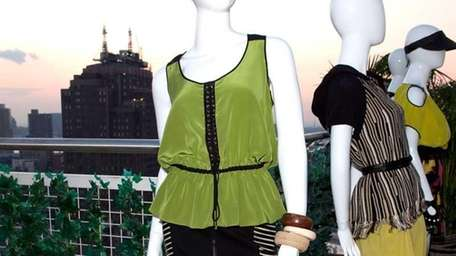 A general view of clothing on mannequins at