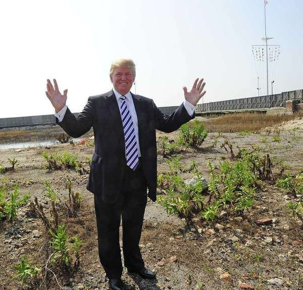 Donald Trump on the empty lot near the