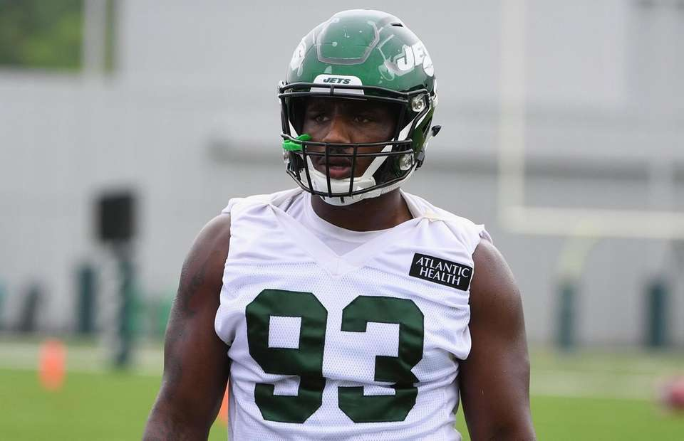 New York Jets outside linebacker Tarell Basham looks