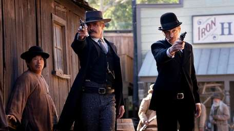 "Timothy Olyphant and John Hawkes in HBO's ""Deadwood:"