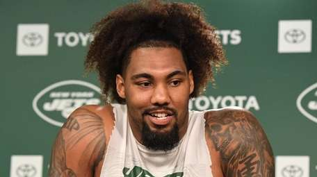 Jets defensive end Leonard Williams answers questions from