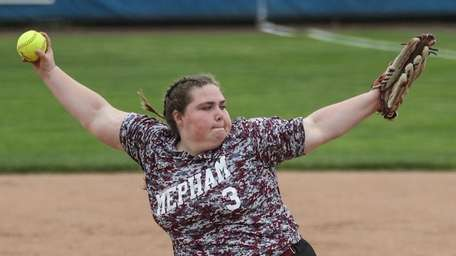 Mepham relief pitcher Sydney LaMagra throws to the