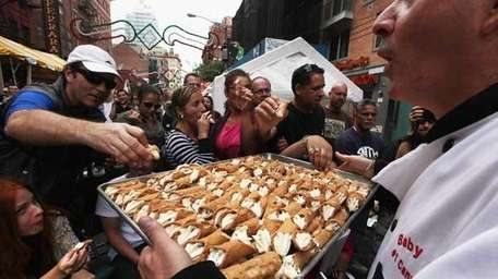 Free cannolis were passed out at the 85th