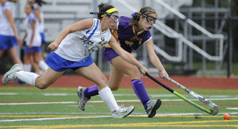 West Islip's Caitlin Cosentino, left, and Sayville's Taylor