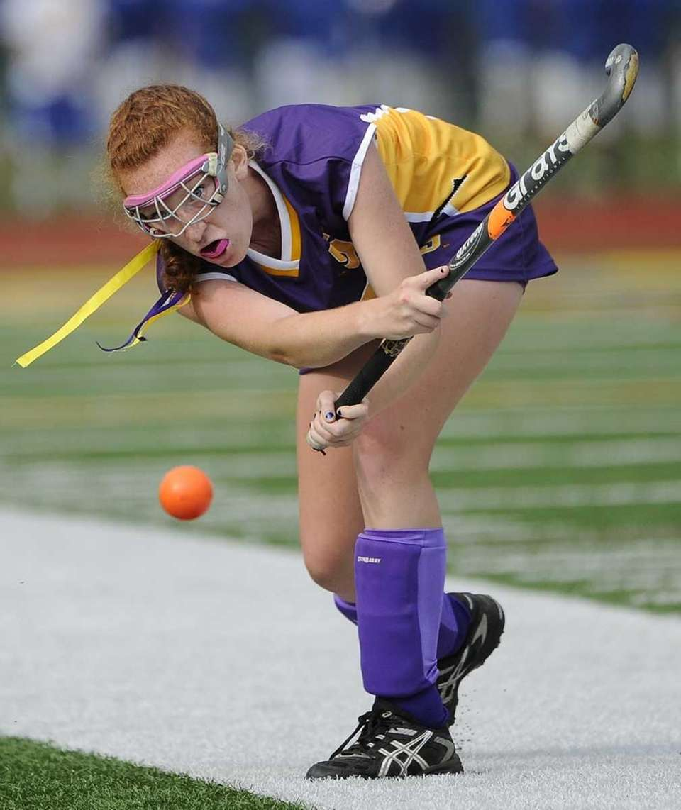 Sayville's Claire Luceri moves the ball against West
