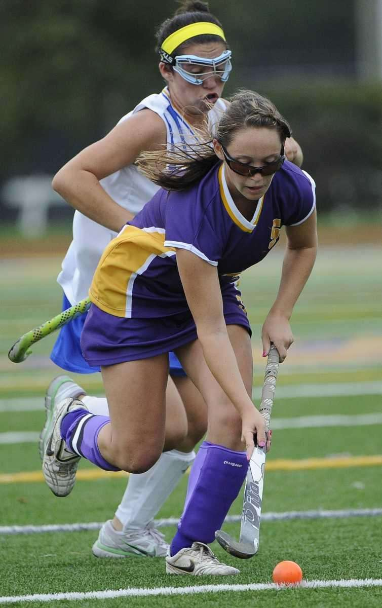 Sayville's Olivia Cabral controls possession against West Islip
