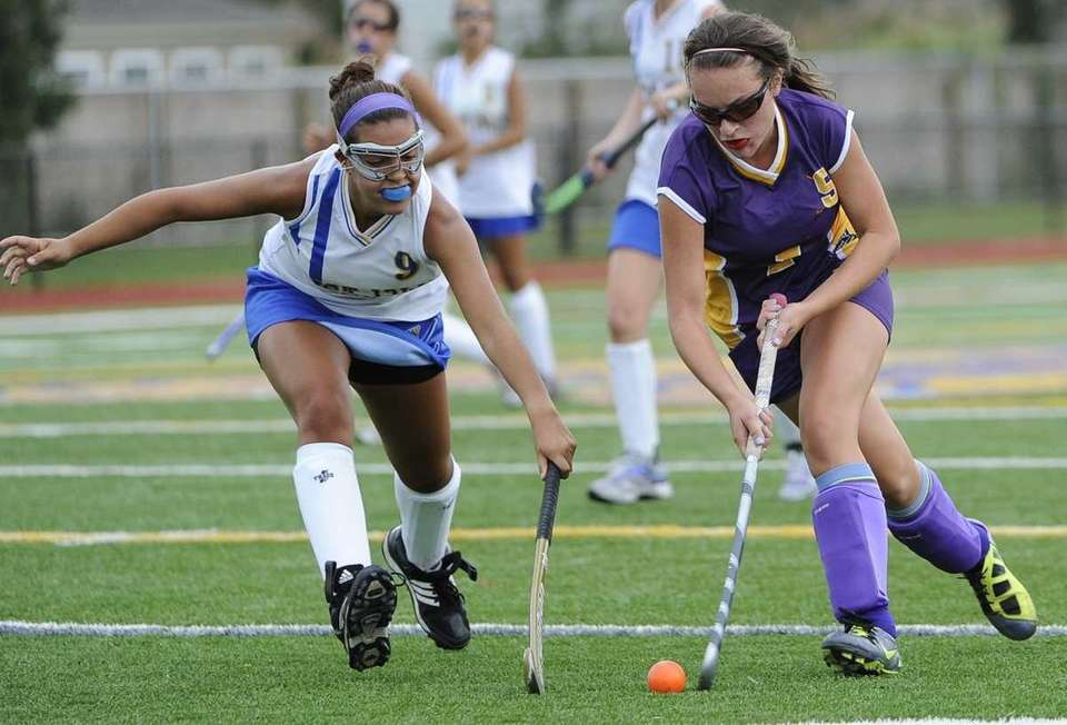 Sayville's Julianna Fiorillo controls the ball by West