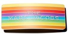 A rainbow barrette with a bling logo can
