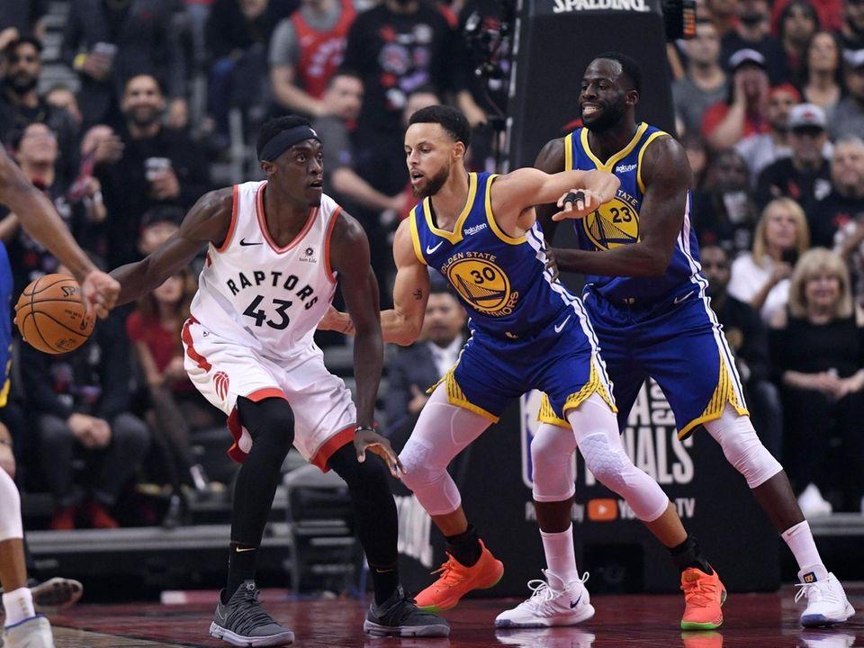 Toronto Raptors forward Pascal Siakam (43) drives on