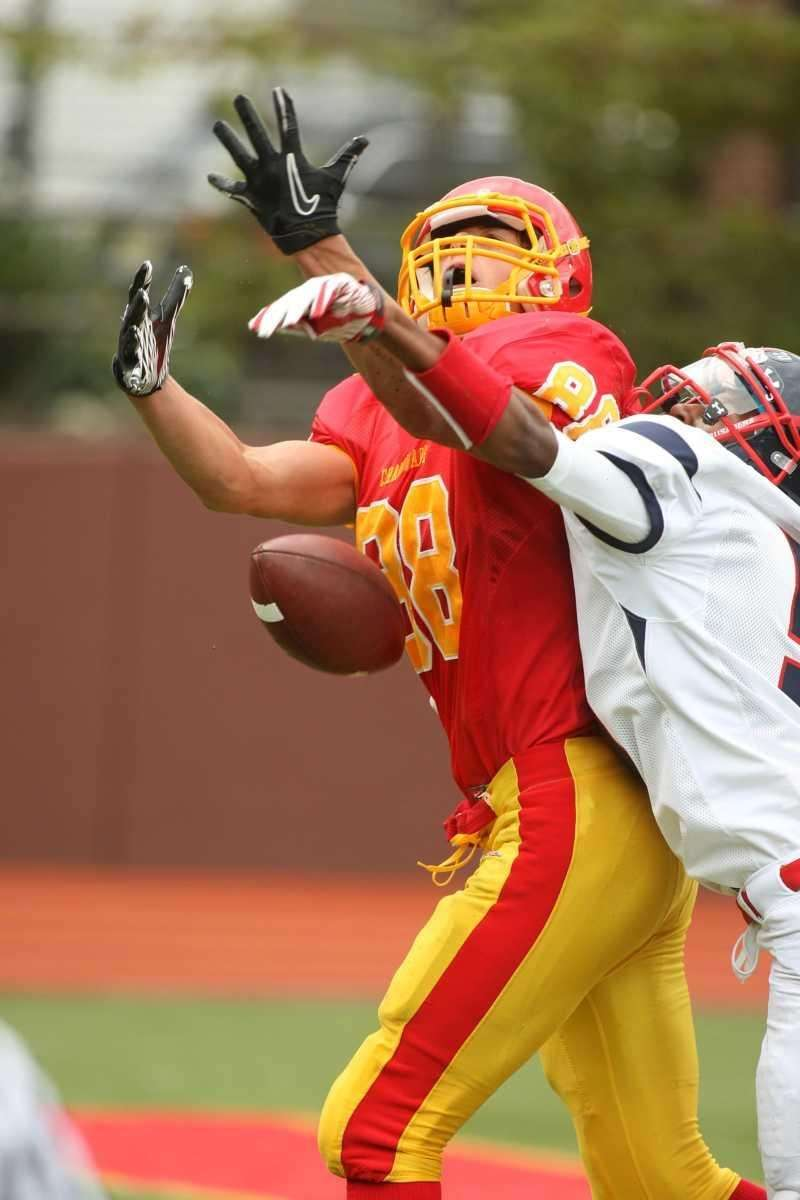 Chaminade receiver Thomas Zenker tries to catch a