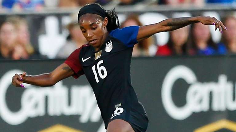 U.S. forward Crystal Dunn plays during an international