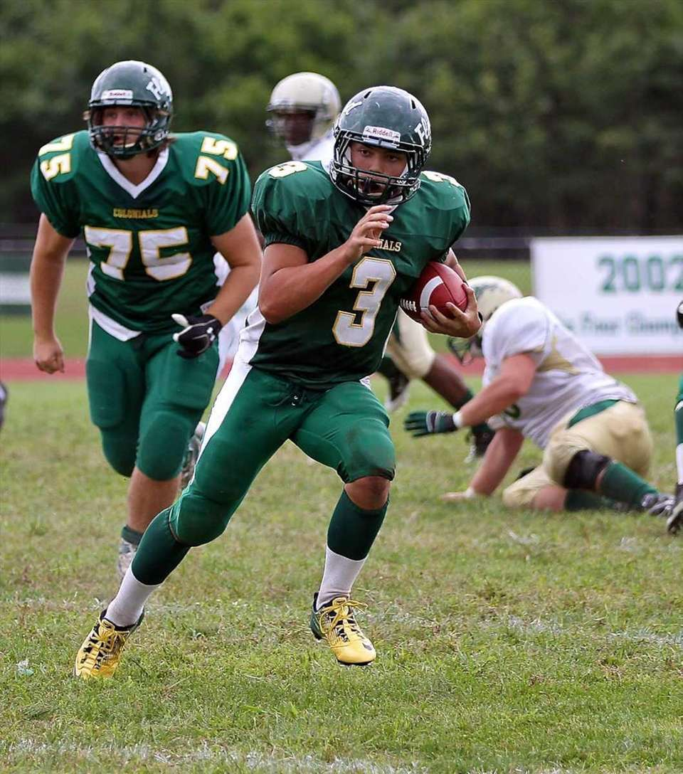 William Floyd quarterback A.J. Otranto #6 finds some